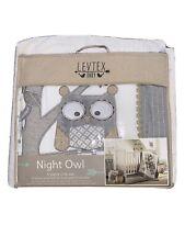 Levtex Baby Night Owl 5pc Crib Bed Set, Gray Quilt, 100% Cotton