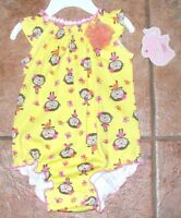 First Moments 3 or 6 months Yellow Monkey Creeper Romper Rosette New