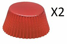 Fox Run 48 Red Foil Mini Bake Muffin Cups Cupcake Liners Birthday (2-Pack)