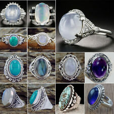Wedding Party Rings Jewelry Female Gift Fashion 925 Silver Oval Turquoise Gem