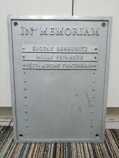 VINTAGE CAST ALUMINUM SIGN IN MEMORIAM CEMETERY TEMPLE MEMORY DECEASED MEMORIAL