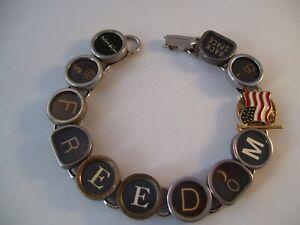 Vtg Typewriter Key Patriot Bracelet FREEDOM 11 Glass Keys Hand Made OOAK US Flag