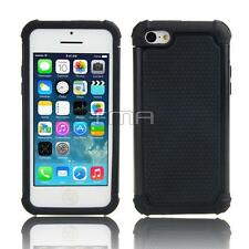 Fits iPhone 5C Case Impact Rugged Rubber Hybrid Shockproof Hard Cover - Black