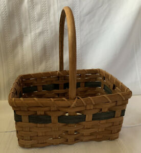 Wooden Wicker Weaved Catch All Gift Basket Brown Green Farmhouse Decor Unbranded