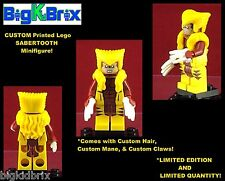 SABERTOOTH Xmen Custom Printed LEGO Minifigure w/Custom Hair, Mane, & Claws!