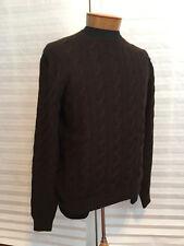 $995 NWT RALPH LAUREN Purple Label Cashmere Cable Knit Brown Sweater szXL
