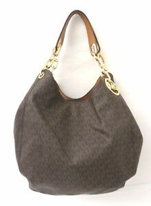 Michael Kors Signature Brown Coated Canvas Large Hobo Carryall Bag Purse