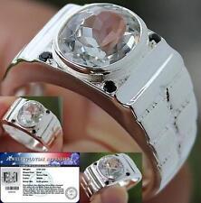 MEN's RING Natural 3.55 Cts White TOPAZ  & Black SPINEL 925 Sterling Silver 10.0