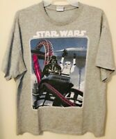 Star Wars Lucas Film Ltd T-Shirt Gray w/Darth Vader&Storm Trooper Roller Coaster