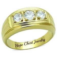 HCJ MEN'S GOLD TONE 3 STONE CUBIC ZIRCONIA WEDDING BAND RING - SIZE 10