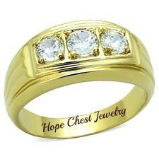 Zirconia Wedding Band Ring - Size 10 Hcj Men'S Gold Tone 3 Stone Cubic