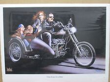 Vintage David Mann Three Brides for a Biker Poster E11