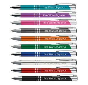 10 Kugelschreiber aus Metall / mit Gravur / 10 verschiedene Farben