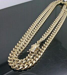 "Real 10k Yellow Gold 24"" Inch Miami Cuban chain Necklace Custom Box Lock Men 6mm"