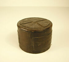 boite ronde ancienne recouverte de cuir H : 5,5 cm diamètre 7,5 cm 105 g
