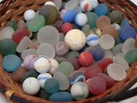 140 Vintage Glass Sea Style Beach Marbles/Pcs Frosty Display Arts Crafts Collect