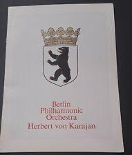 Concert programme Von Karajan Berlin Philharmonic Royal Festival Hall June 1979