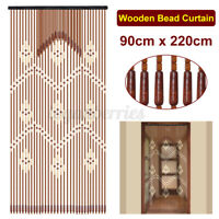 90x220cm 31 Lines Bamboo Wooden Bead String Door Curtain Blinds Movable L