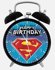 "Superman Birthday Alarm Desk Clock 3.75"" Home or Office Decor E254 Nice Gift"