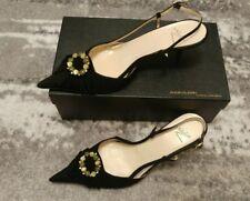 NEBULONI Elegance style Women Black Suede Open Back Heel Sandal Dress Shoes UK 4