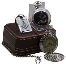 FREEMASON Silver POCKET WATCH  and Keyring Luxury Set Gift in Case Masonic Lodge