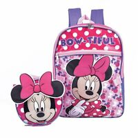 Disney Minnie Mouse Girls School Backpack Lunch Box Book Bag SET Bow Kids PINK
