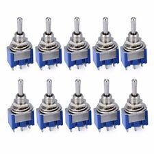 10pcs 6A 125VAC/3A 250VAC Dark Blue 3-Position SPST Latching Mini Toggle Switch