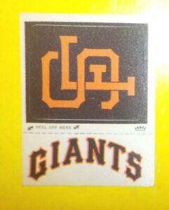 "1968-72 Fleer SAN FRANCISCO GIANTS SF Cap Giants Uniform ""REAL CLOTH"" patches"