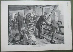 Fishing From Pier Brighton East Sussex Antique Print 1893 Men Children