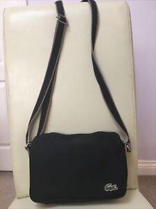 Vintage LACOSTE Unisex Horizontal Cross-over Shoulder Bag small black
