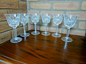 Set of 6 Quality Cut Crystal / Cut Stem Wine Glasses - Wine Glass x 6