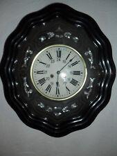 oeil de boeuf décor de nacre/plaquage,cadran verre,TBE,horloge,pendule,mouvement