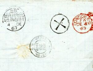 USA Transatlantic CROSS Postmark Cover GB LIVERPOOL PACKET 1867 Faults* M374