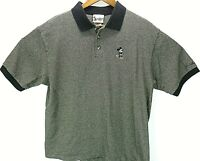 Vtg Disneyland Resort Mickey Mouse Black And White Knit Golf Polo Shirt Mens L