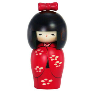 """Japanese 5.5""""H KOKESHI Wooden Doll Red Kimono Girl Hand-Craft/ Made in Japan"""