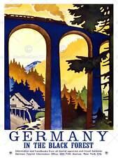 Viaggio foresta nera Germania VIADOTTO treno usa pubblicità VINTAGE POSTER 2315py