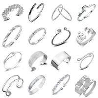 Fashion Women 925 Silver Plated Bangle Cuff Solid Bracelet Wristband Jewellery