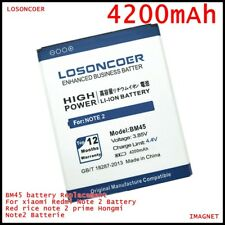 LOSONCOER 4200mah BM45 battery Replacement For xiaomi Redmi Note 2 Red rice note