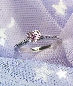 Authentic Silver 925 Pandora Synthetic Sapphire Heart Ring 190896SLP size 5