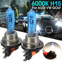 Paire 12V 55W H15 HID Phare Ampoule Xénon Halogène Blanc 6000K Pour AUDI VW GOLF