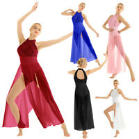 Women Lyrical Sequin Ballet Leotard Bodysuit Dance Dress Sheer Mesh Maxi Skirt