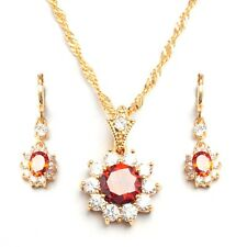 Red White CZ Gold Plated Pendant 45 cm Chain Necklace Drop Earrings Jewelry Sets