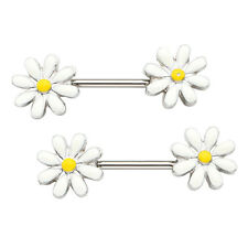 Pair Women's Stainless Steel Daisy Nipple Ring Stud Body Piercing Jewelry 14GaAy