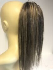 Brown With Highlights 4/27 Human Hair Blend Scrunchie Extension Ponytail