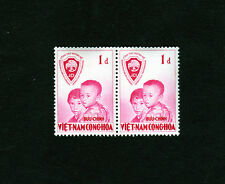 1956 RVN South Vietnam 2 Stamps MNH United Nations Operation Brotherhood 1D Rose