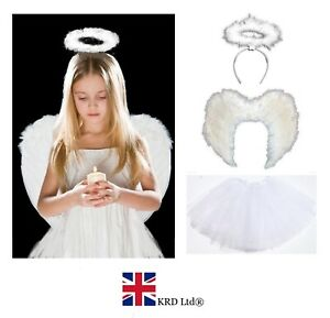 WHITE ANGEL TUTU COSTUME Feather Girls Christmas Fancy Dress Outfit Party Lot UK