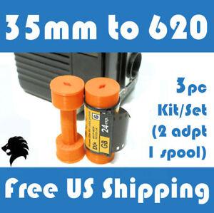35mm to 620 Medium Format Folding/Box Camera Film Spool Adapter Set-Kit (3pcs)