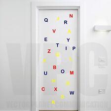 wall stickers 26 lettere colorate adesive alfabeto decoro camera bambini scuola
