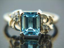 2.0 ct Blue Topaz & Diamond Ring on heavy14K yellow Gold