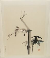 "CHIKANOBU KANO ""FLOWER AND BIRD"" HAND PRINTED WOODCUT"
